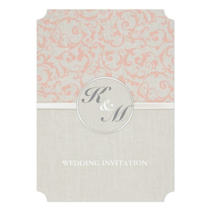 "SmartElegance Coral Wedding Invitation 5"" X 7"" Invitation Card"