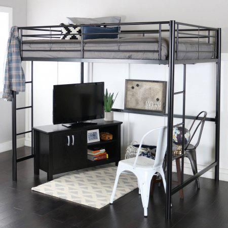 Premium Full Size Black Metal Loft Bed With Spa Sensations 6 Inch