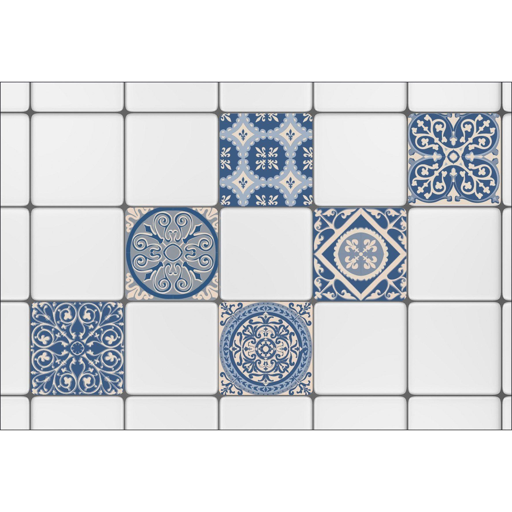 Sticker Carrelage Mural Carreaux De Ciment Bleu 15 Cm X 15 Cm