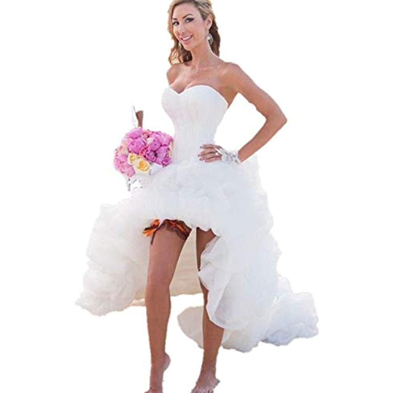 Simple Short Hi Low Beach Wedding Dress Bohemian Summer Short