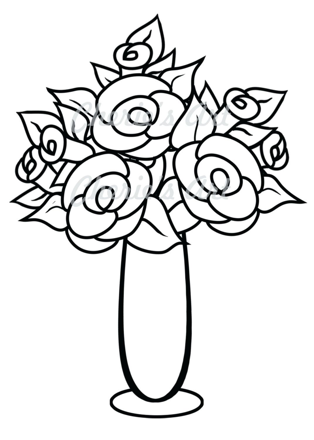 Digi Stamp Rose Vase Line Art Originals Jpg Downloadables Printables You Color 2 00 Via Etsy Floral Drawing Flower Vase Drawing Flower Drawing