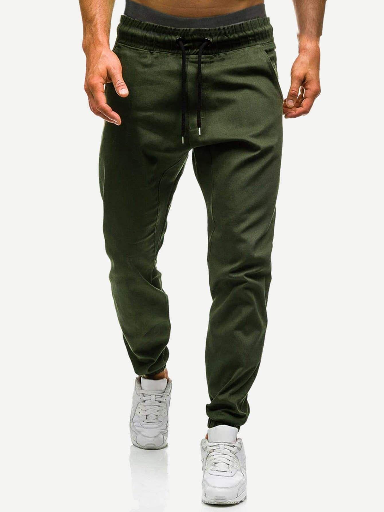 Men Drawstring Waist Solid Joggers Style Swag Streetwear Fashion Dapper Instafashi Jogger Pants Style Mens Pants Casual Bodybuilding Pants