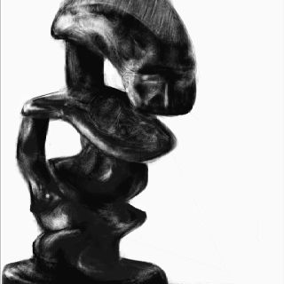 Talla africana dibujada con HARMONIOUS.