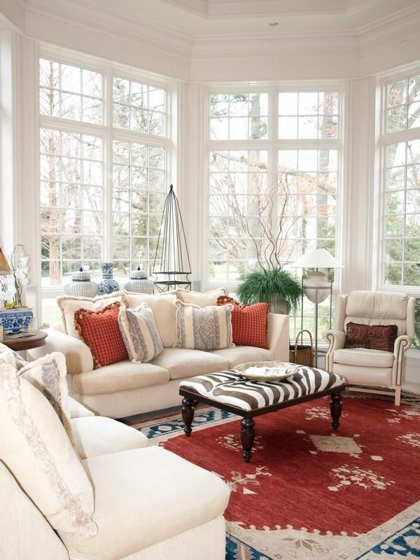 Stylish White & Red Family Room, love this but would like better with some type of window covering or accent