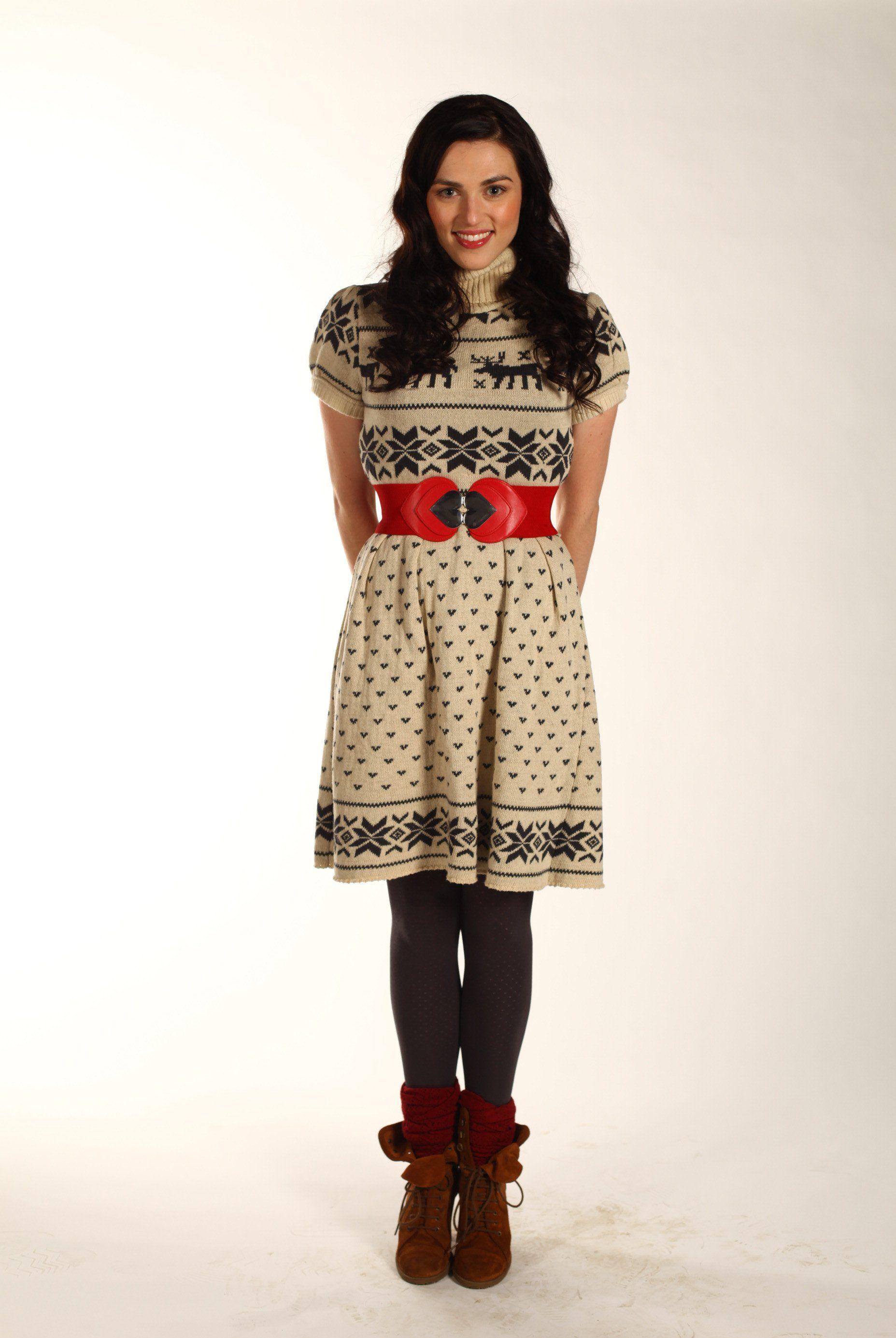 38635d234f3 Sweater dress with red belt