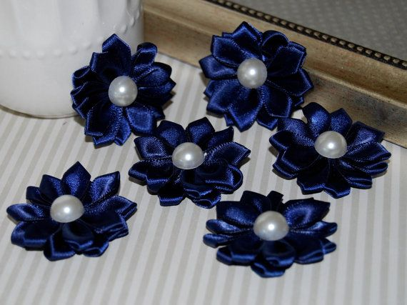 Small Navy Fabric Flowers (6 pcs) - 1 1/2 Satin ribbon