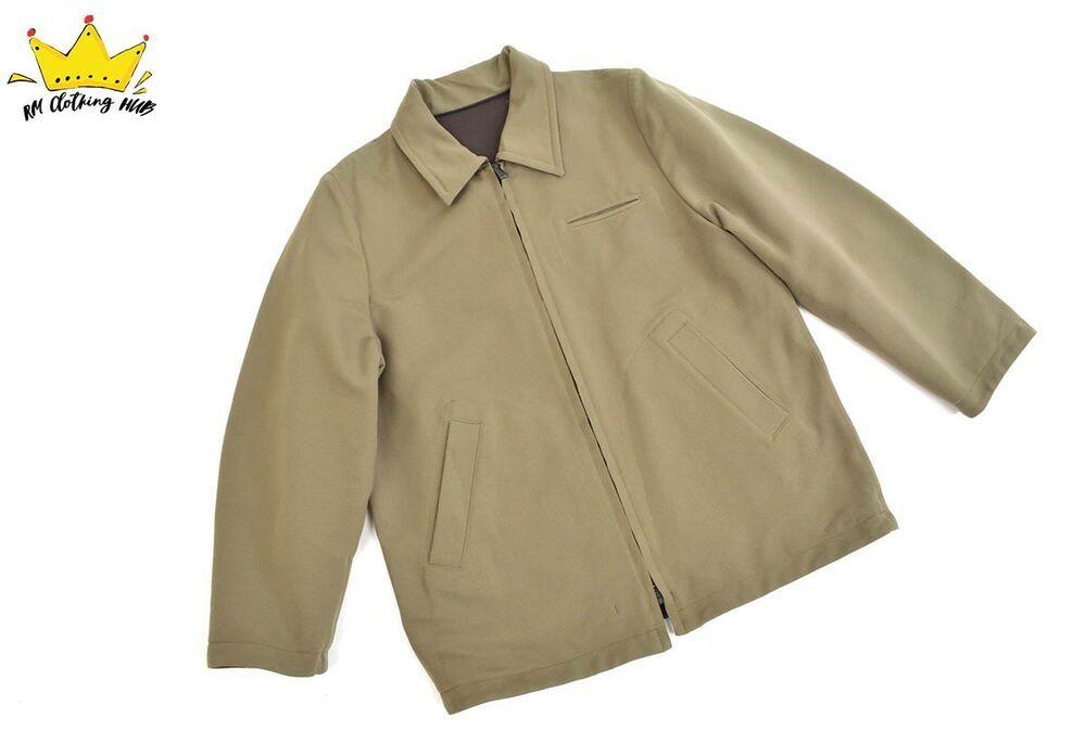 ec487019b MASSIMO OSTI Stone Island Full Zip Reversible Khaki Brown Mens Boxy ...
