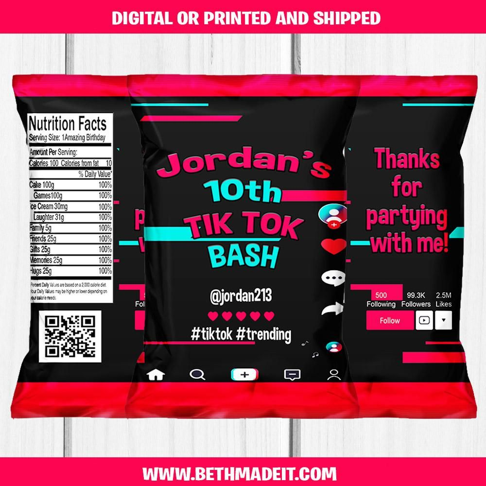 Tik Tok Chip Bag Bethmadeit Perfect Birthday Party Party Favors Party Favor Treat