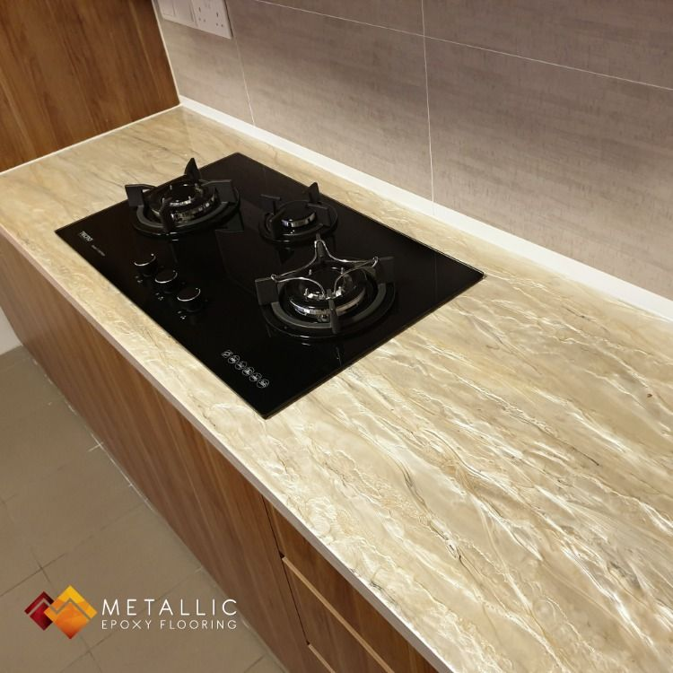 A Soft And Beautiful Rose Gold Coating Adding A Touch Of Elegance To This Homeowner S Workspace Breathing Li Countertops Epoxy Countertop Epoxy Floor