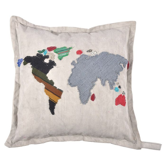 world map pillow for the home pinterest karten. Black Bedroom Furniture Sets. Home Design Ideas