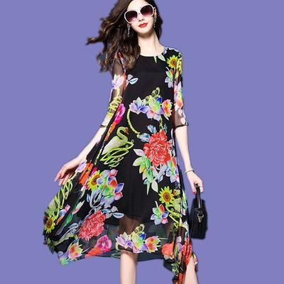 Vestidos Boho Summer Dress 2017 Chiffon Denim Xxxxl Plus Size Women Evening  Party Long Large Printed Flower Dresses - Black 0ae8ad3367e7