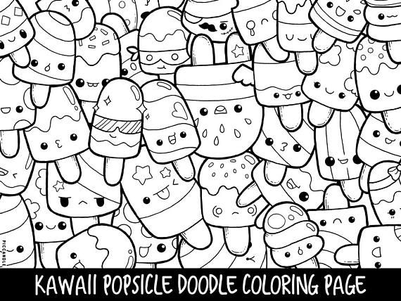 Popsicle Doodle Coloring Page Printable Cute Kawaii Coloring Etsy Doodle Coloring Cute Coloring Pages Coloring Pages