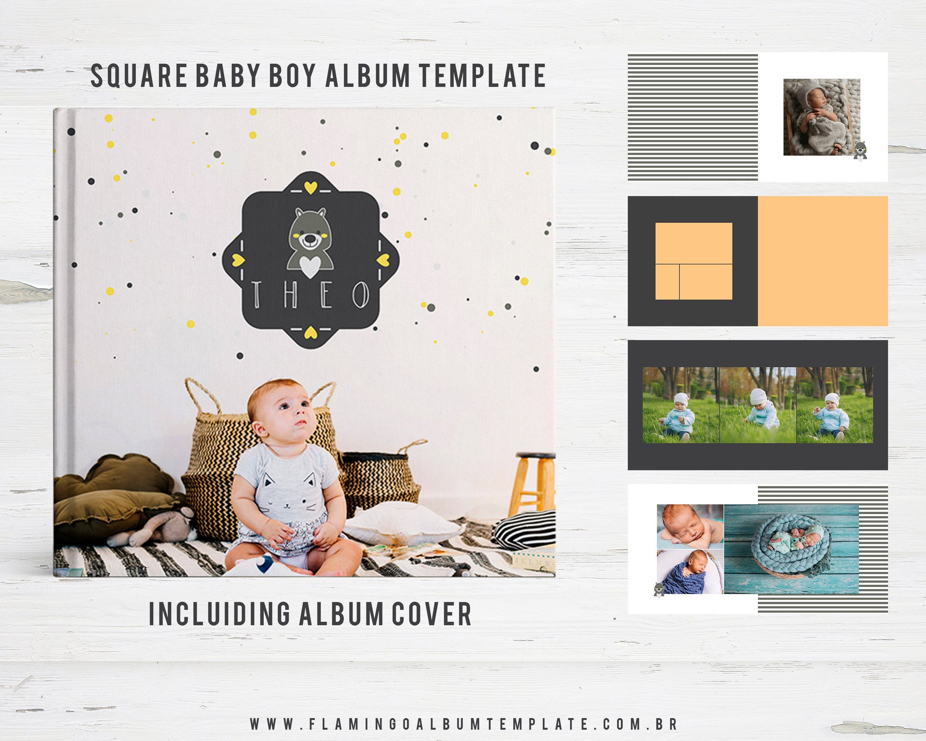 Album Template For Photographers Square Baby Photo Book Album
