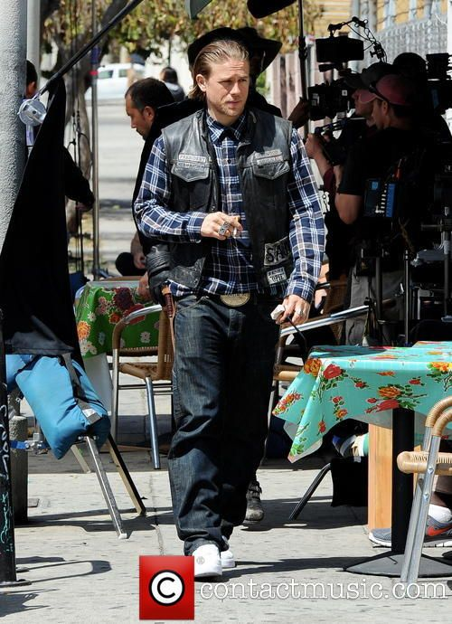 "Charlie hops on his bike for ""Sons Of Anarchy"""