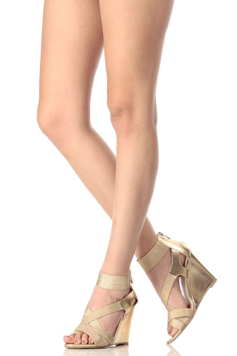 a9c1696346fa Gold Faux Leather Strappy Single Sole Wedges   Cicihot Wedges Shoes Store Wedge  Shoes