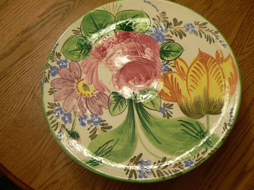 HAND PAINTED CERAMIC CAKE PLATE FLORAL MADE IN ITALY $40.02 - ebay