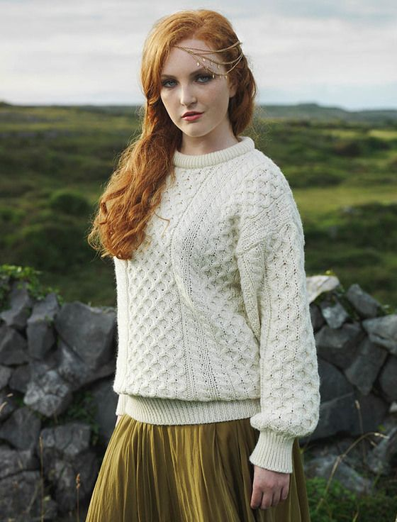 Our Heavyweight Aran Sweater sports the most popular Aran stitches ...