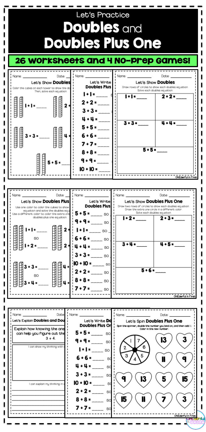 Doubles And Doubles Plus One Worksheets And No Prep Games Learning Worksheets Math Worksheet Addition Worksheets [ 1512 x 720 Pixel ]
