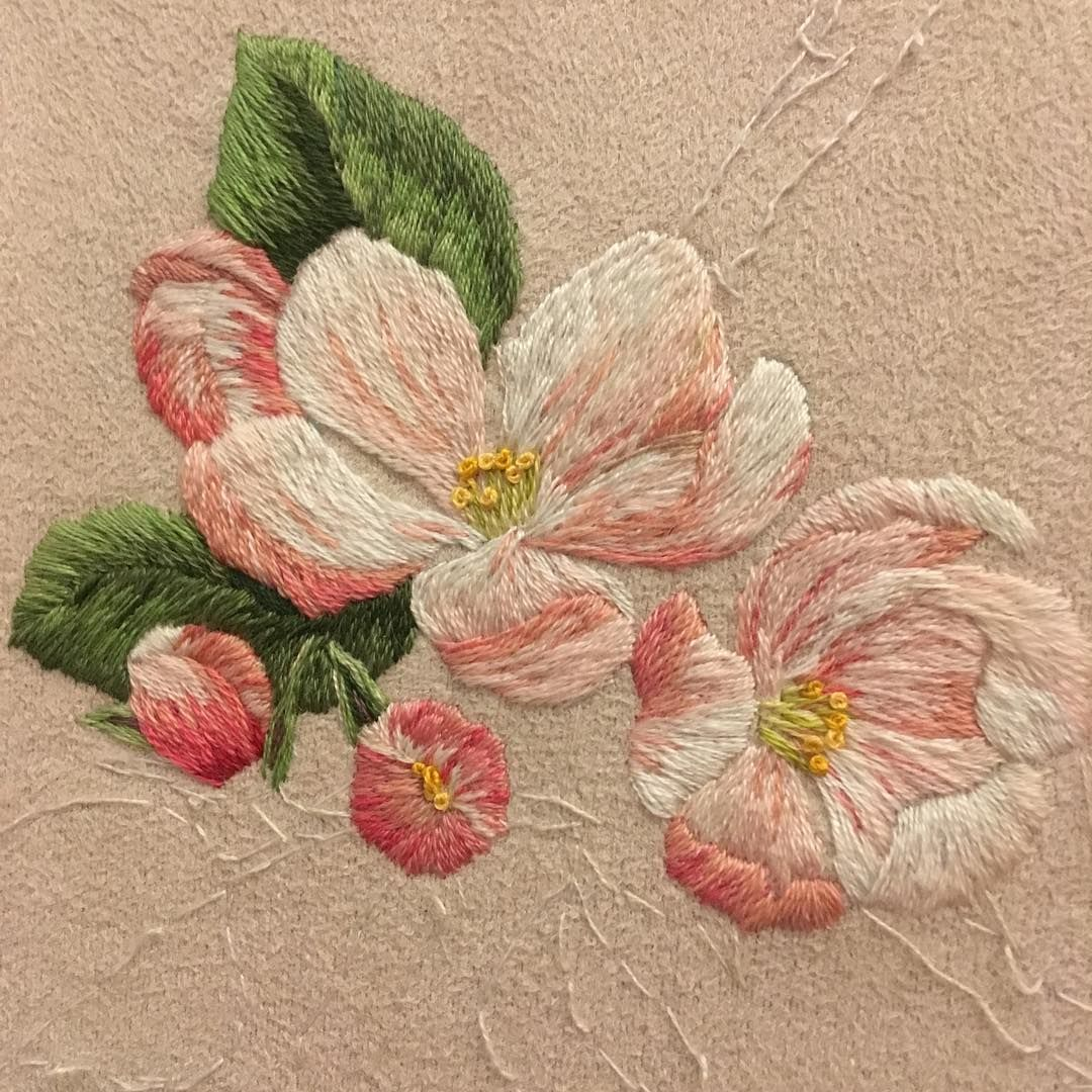 Apple handmade embroideryart embroidery color colors flowers