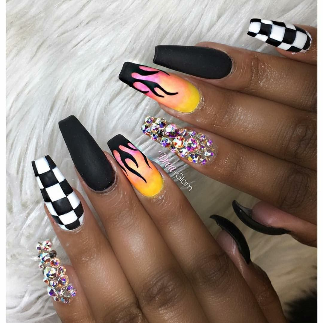 Follow Makie Starks For More Nail Love Inspiration Fire Nails Checkered Nails Cute Acrylic Nails