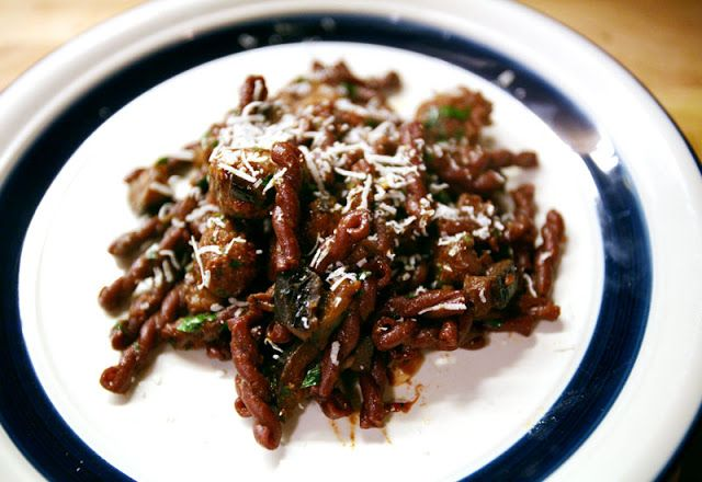 Herbie Likes Spaghetti: Fancy Stuff: Wine Stained Gemelli with Eggplant and Sausage