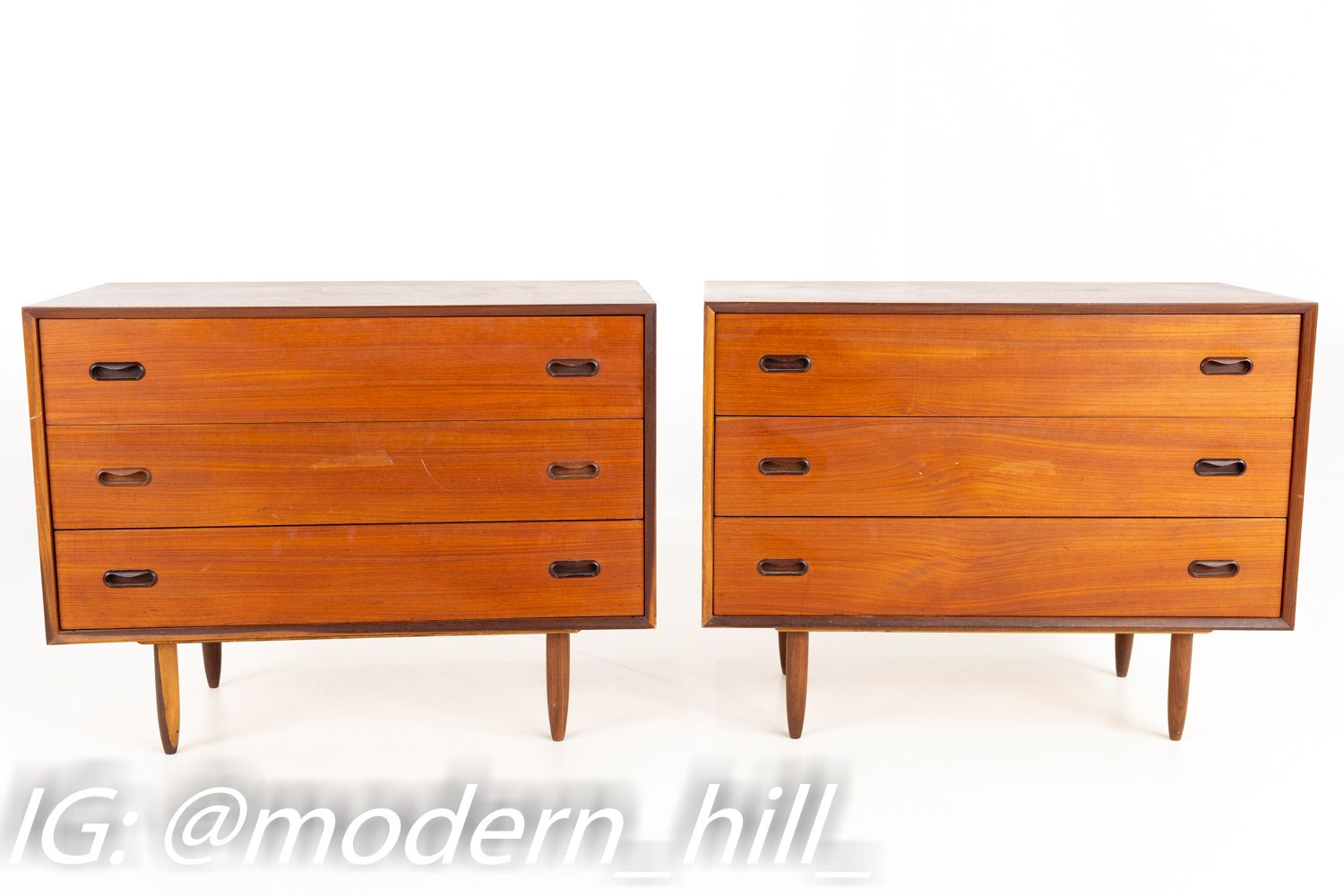 Peter Hvidt Style Mid Century 3 Drawer Chest Of Drawers Matching Pair Mid Century Modern Bedroom Furniture Modern Furniture Online 3 Drawer Chest