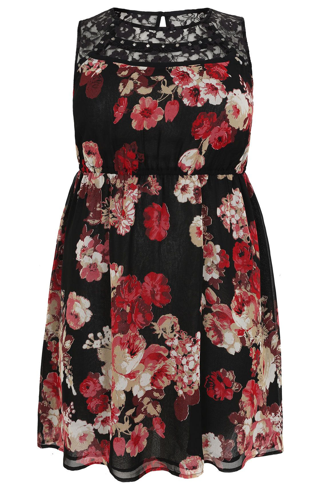 Black u pink rose print skater dress with lace panel mirror