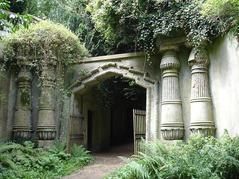 Entrance to the Egyptian Avenue at Highgate Cemetary, London, England. Highgate Cemetary is one of London's most infamous cemeteries.