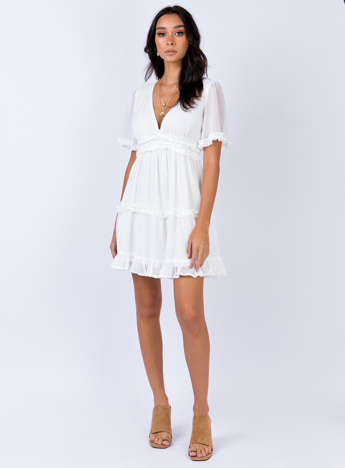 Ferocity Mini Dress White Flowy Mini Dress White Short Sleeve Dress White Flowy Dress