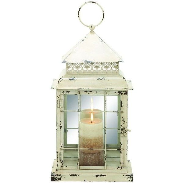 Distressed Windowpane Candle Lantern 57 Liked On Polyvore Featuring Home Decor