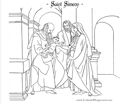 saint simeon catholic coloring page feast day is february 18th