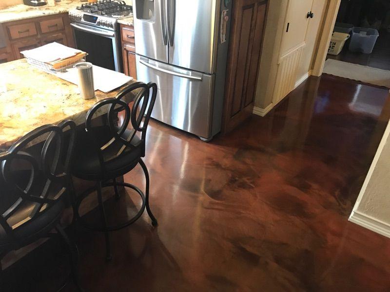 Vintage Umber Acid Stained Concrete Floor In Tulsa Oklahoma