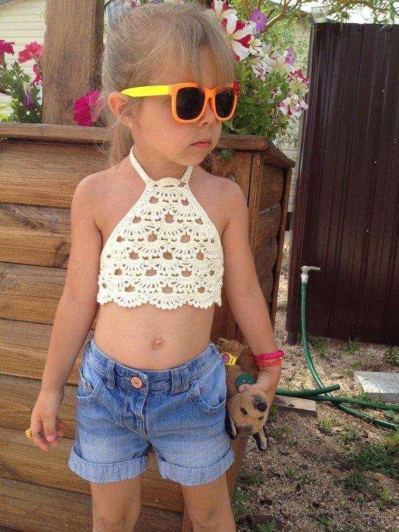 Crocheted Toddler Crop Top/ Baby crochet top/ Girl crop top/ Ivory crochet top/ Crochet toddler bohemian top/ Girl crochet festival top