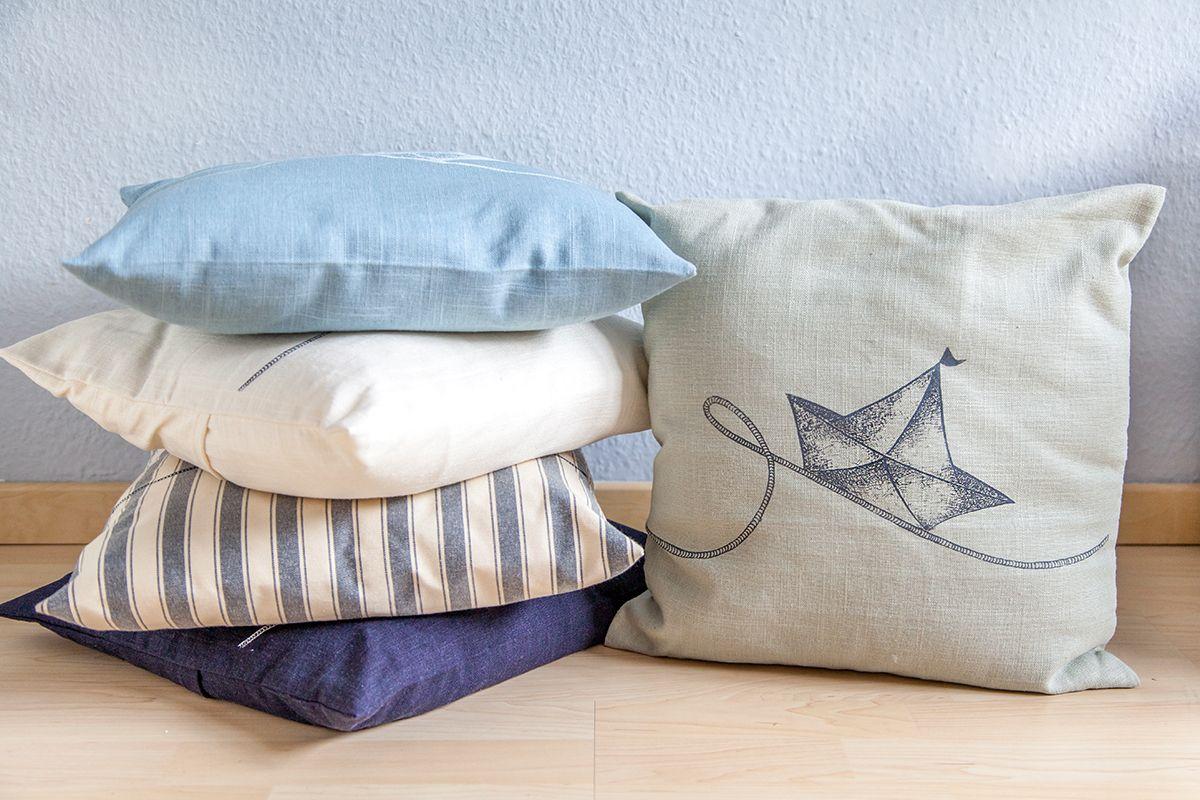 Kissen Maritim kissen maritim segelboot siebdruck handgemacht kiel leinen
