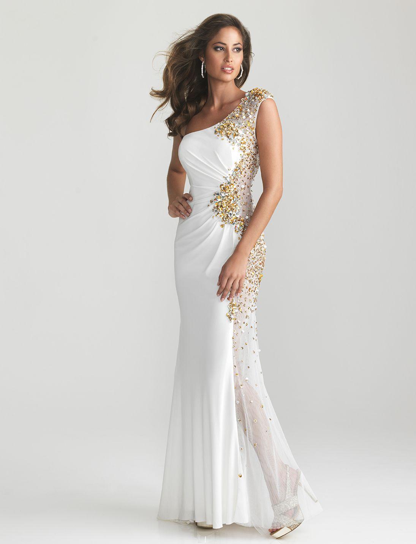 White jersey sheer beaded one shoulder prom dress unique vintage