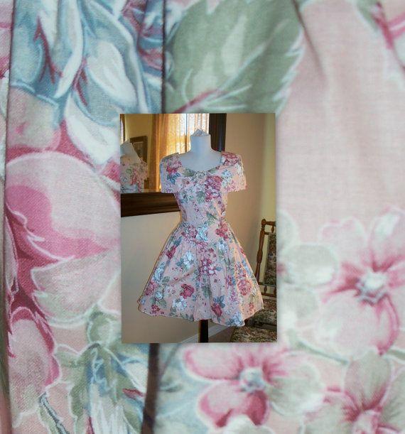 VINTage 80s summer dress  off shoulder  flowers by MrIdahosVintage, $24.00