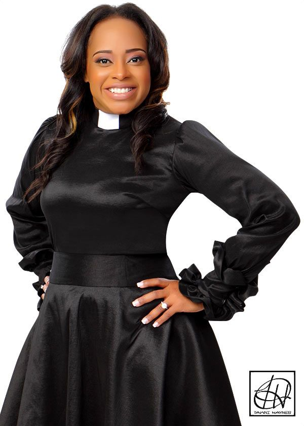 49e1d7724c6f5c Clergy Blouse featuring a gathered long sleeve with elegant ruffle trimmed  cuffs. Clergy Blouse in photo is made of Lightweight Black Stretch Taffeta.