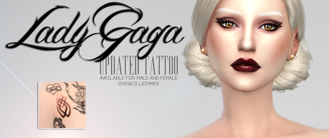 Sims 4 CC's - The Best: Lady Gaga Updated Tattoo by Overkill Simmer