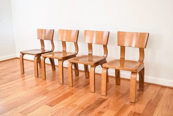 Thonet Bent Plywood Child Chairs Set Of 4 Mid Century Modern, Vintage NOTE:  Listed