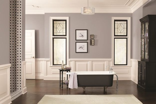 Grey walls, white trim