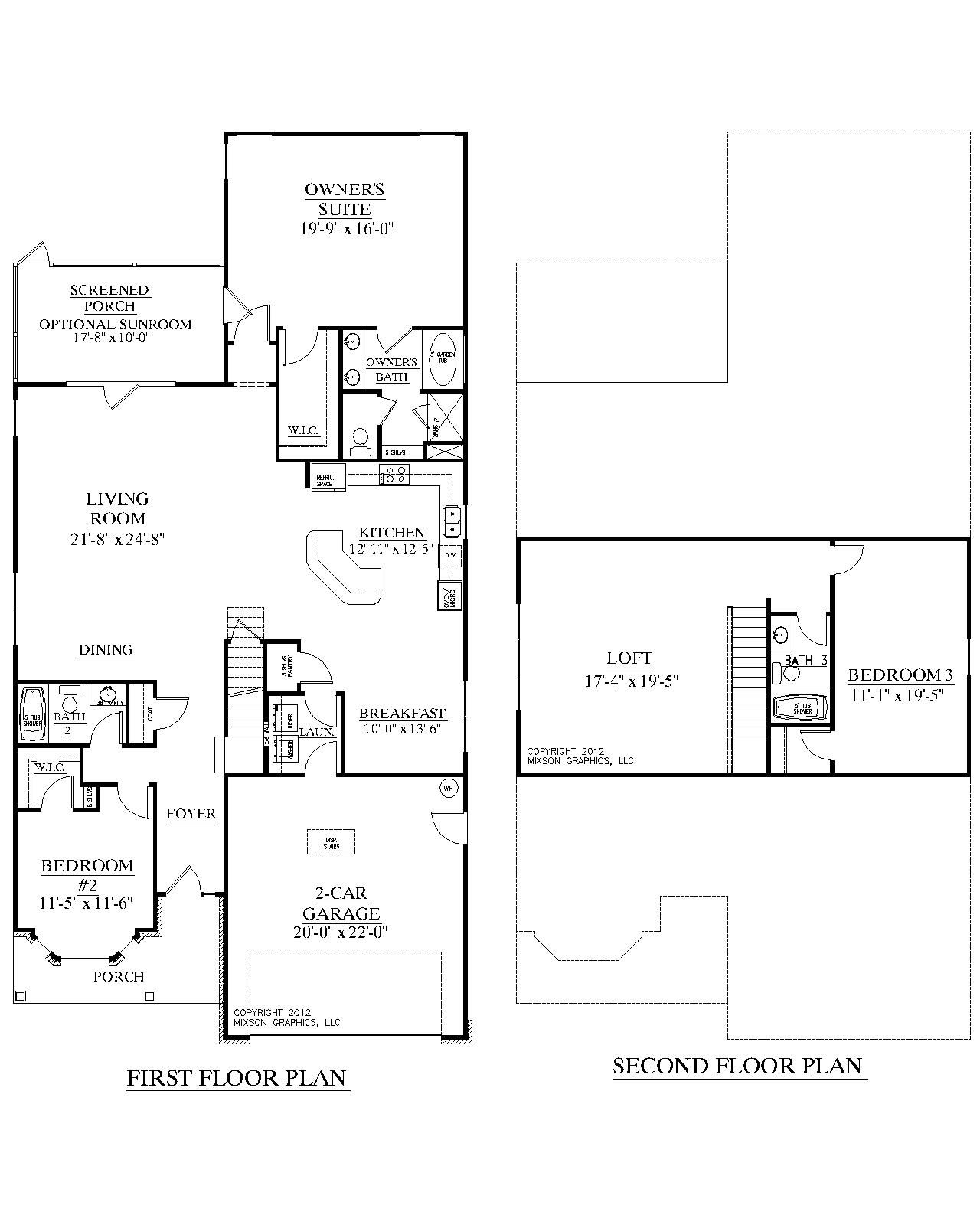1 1 2 Story Two Car Garage With Apartment: House Plan 2632 AZALEA Floor Plan