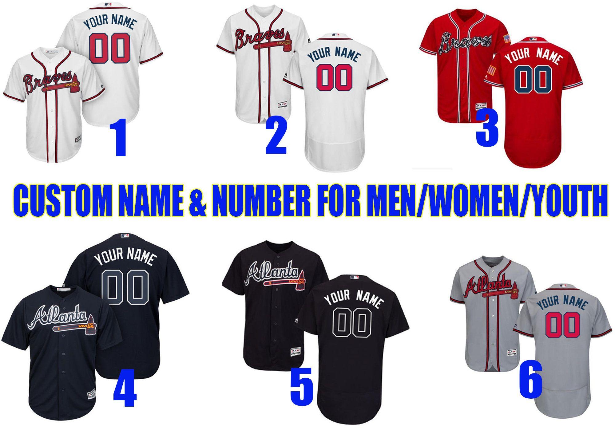 Atlanta Braves Customizable Baseball Jerseys For Men Women Youth Custom Jersey Braves Jersey