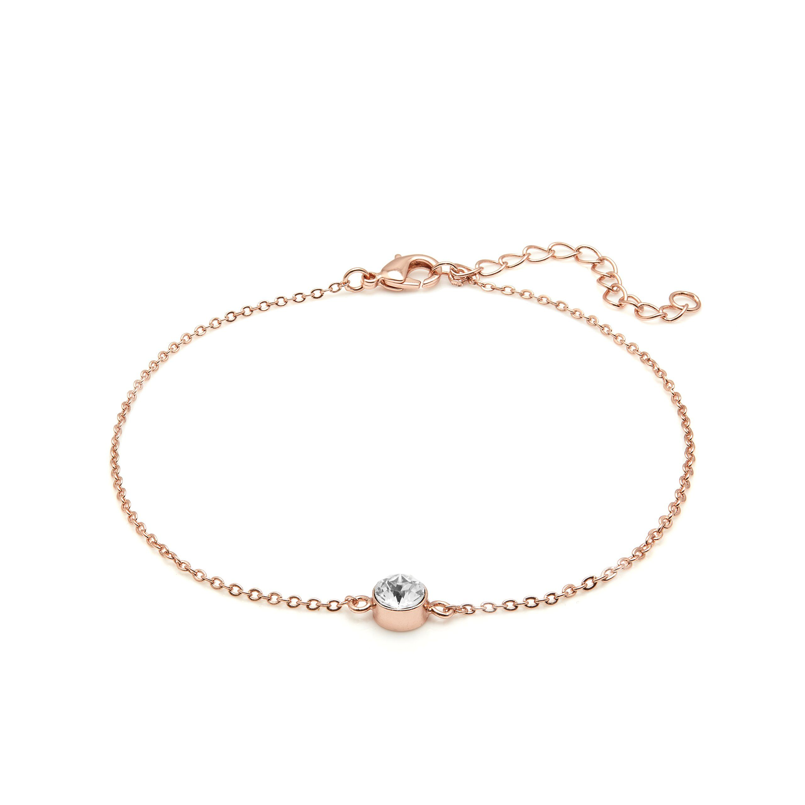 r chain rose floating heart solid beaded gold anklet