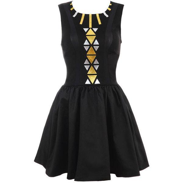 'KIKI' TRIBAL PRINT BALL SKIRT DRESS (495 BRL) ❤ liked on Polyvore featuring dresses, vestidos, robe, ball dresses, tribal pattern dress, ethnic print dress, tribal print dress and foil dresses
