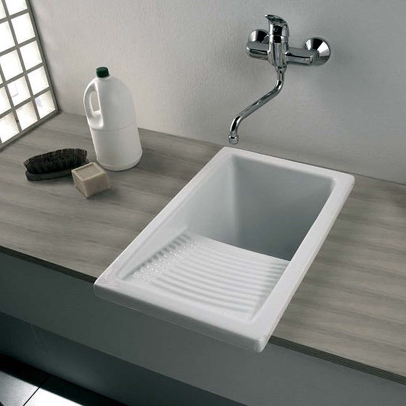 White Narrow Ceramic Utility Sink Home Furniture Diy Kitchen