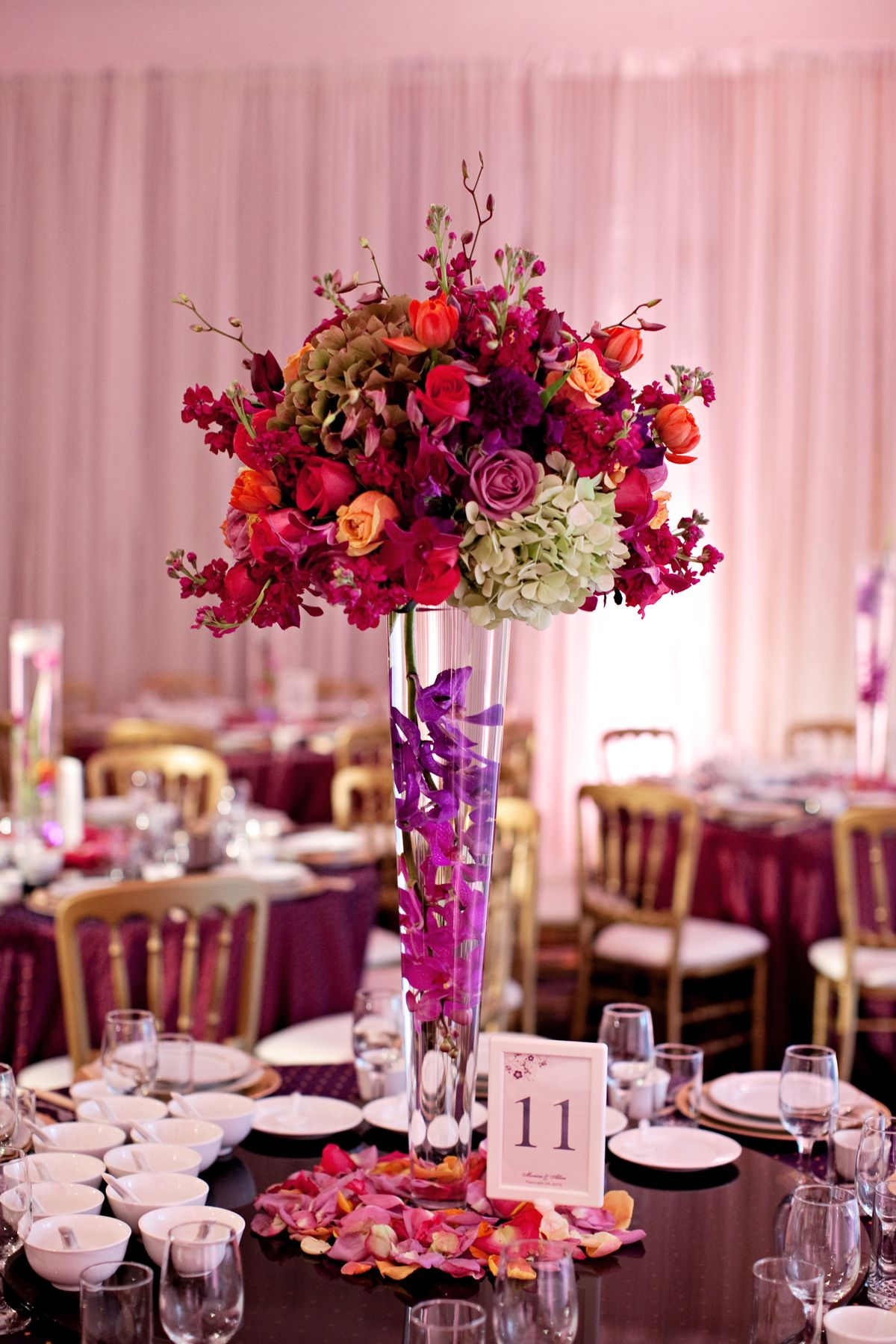 Floral Decor: Purple, Gold, Magenta Wedding // Events By Satra // Tyler