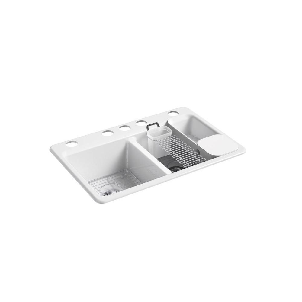 Kohler Riverby Workstation Undermount Cast Iron 33 In 5 Hole Double Bowl Kitchen Sink Kit In White With Accessories K 8679 5ua3 0 Double Bowl Kitchen Sink Sink Cast Iron Kitchen Sinks