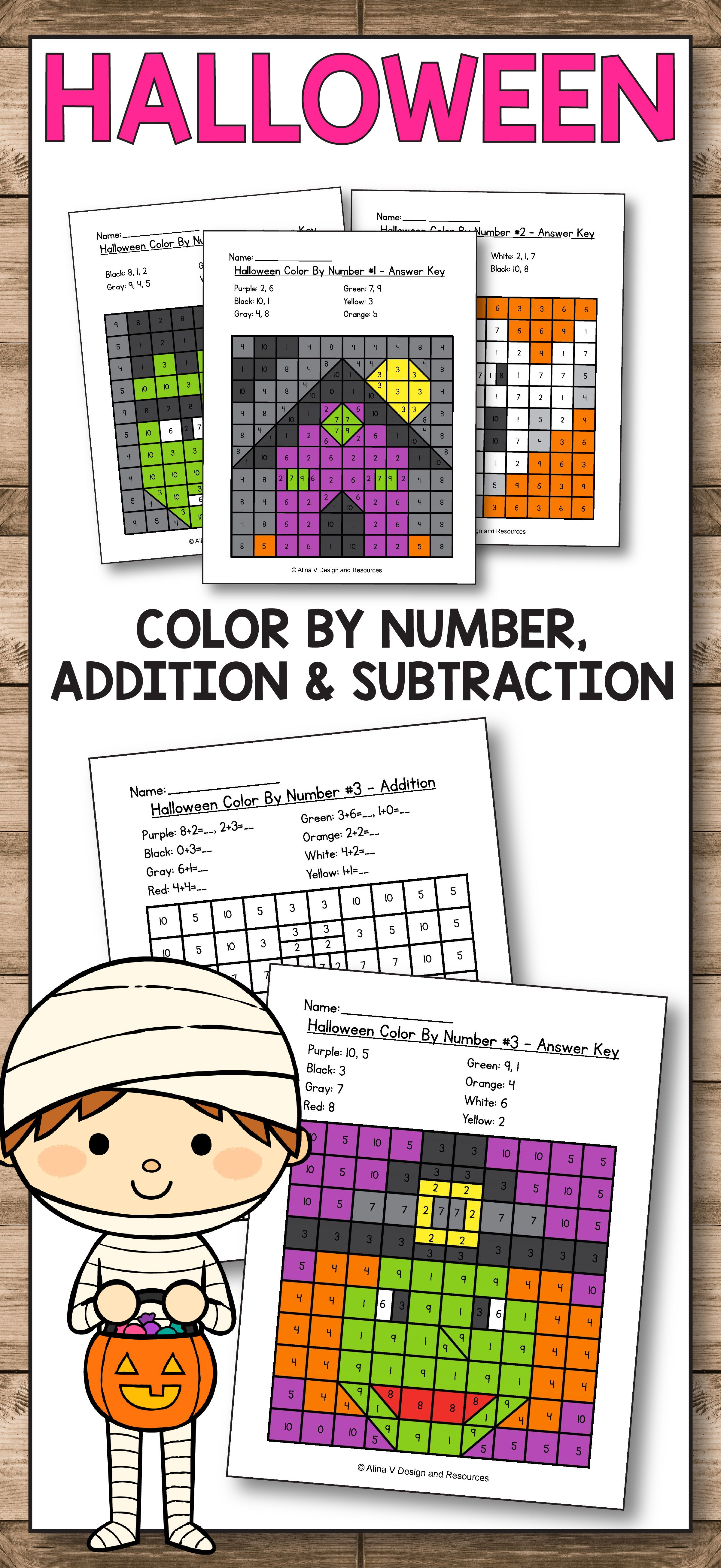 Halloween Color By Number - Halloween Math Worksheets   Halloween math  worksheets [ 5223 x 2400 Pixel ]