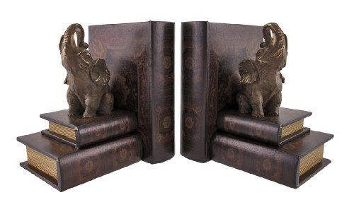 Leather Books and Lucky Elephant Bookends by Things2Die4. $44.99. 7 1/4 in. Long, 8 in. Tall, 5 3/4 in. Wide. Wood/Leather/Resin. Great Housewarming Gift. This beautiful pair of bookends is a great addition to the home or office of any bookworm! The books are made of wood and covered with leather, and a small resin elephant sits on top of the stack. Each measures 7 1/4 inches long, 8 inches tall, and 5 3/4 inches wide. They also make a great housewarming gift ...