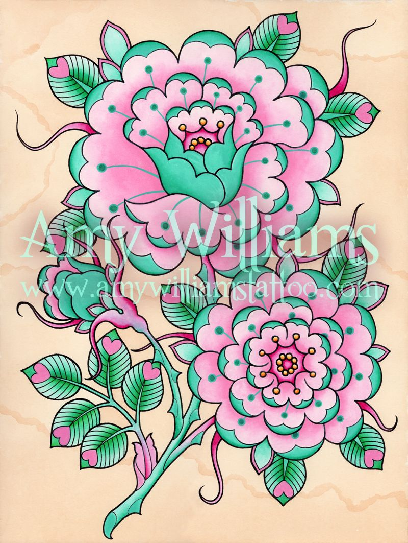 teal and pink geometric tudor rose tattoo design by amy williams
